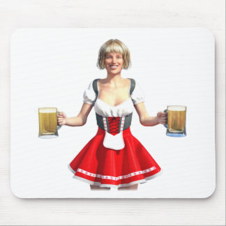 Oktoberfest Girl with Beer Steins Mouse Pad