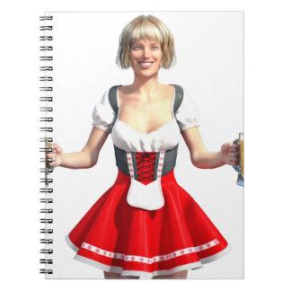 Oktoberfest Girl with Beer Steins Notebook