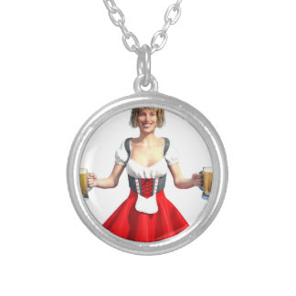 Oktoberfest Girl with Beer Steins Silver Plated Necklace