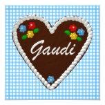 "Oktoberfest Heart ""Gaudi"" 5.25x5.25 Square Paper Invitation Card"