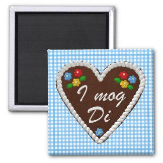 """Oktoberfest Heart """"I mog Di"""" 2 Inch Square Magnet"""