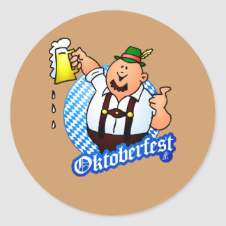 Oktoberfest - hombre en lederhosen etiquetas redondas