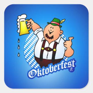 Oktoberfest - hombre en lederhosen pegatina cuadrada