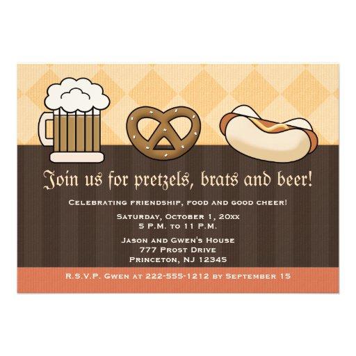 Oktoberfest Invitations Beer Mug Pretzel Hot Dog
