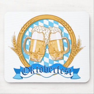 Oktoberfest Label Design With Beer Glasses Mouse Pad