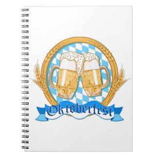 Oktoberfest Label Design With Beer Glasses Notebook