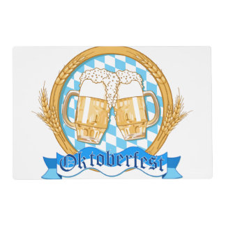 Oktoberfest Label Design With Beer Glasses Placemat