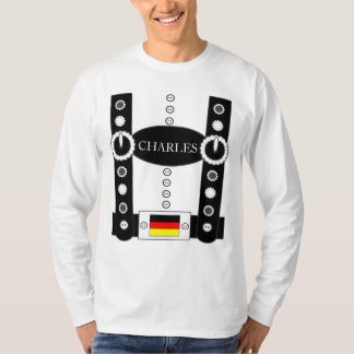 Oktoberfest Lederhosen Funny Add Name BW T-Shirt
