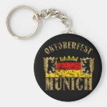 Oktoberfest Munich Distressed Look Design Basic Round Button Keychain