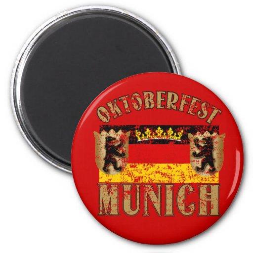Oktoberfest Munich Distressed Look Design 2 Inch Round Magnet
