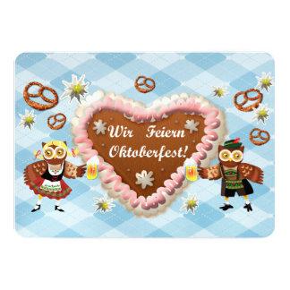 Oktoberfest owls 5x7 paper invitation card