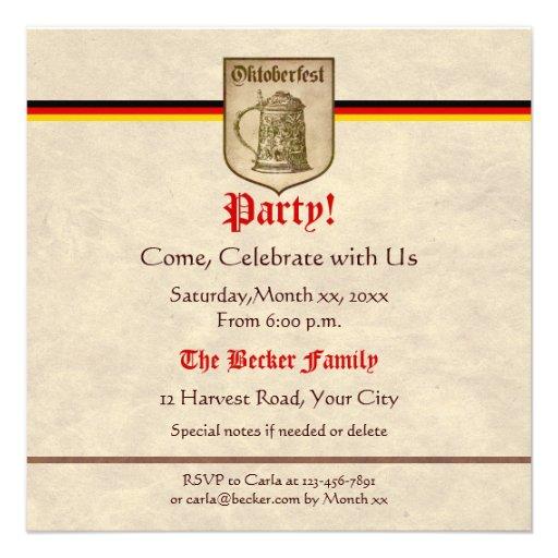Oktoberfest Party Custom Invite (front side)
