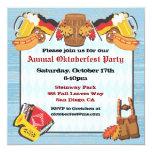 Oktoberfest Party Invitation on old wood backgroun