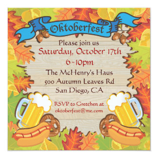Oktoberfest Party Invitations with Autumn Leaves