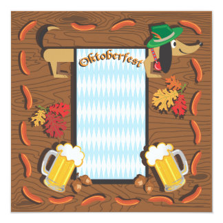 Oktoberfest Party with dachshund 5.25x5.25 Square Paper Invitation Card