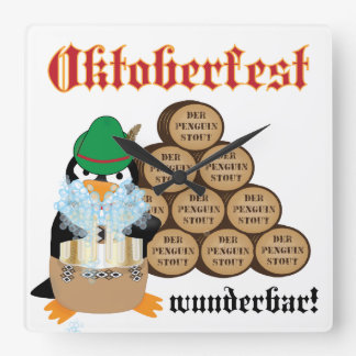 Oktoberfest Penguin Wall Clock