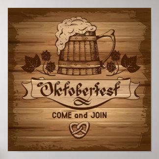Oktoberfest poster del vintage con de madera