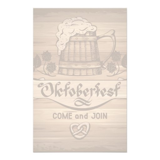 Oktoberfest, poster del vintage con de madera personalized stationery
