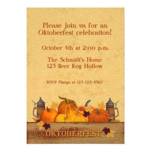 Oktoberfest, Pumpkins, Beer Steins Personalized Invite
