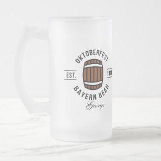 Oktoberfest Since 1810 Frosted Glass Beer Mug