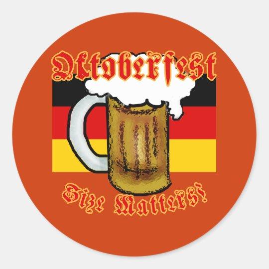 Oktoberfest Size Matters Fun Tshirt Classic Round Sticker