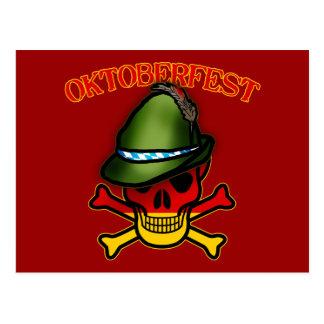 Oktoberfest Skull and Crossbones Design Postcard