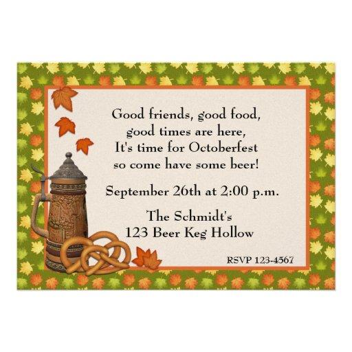 Oktoberfest Stein Pretzels Invitation