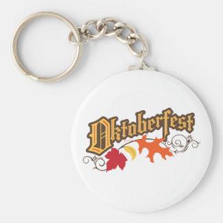 oktoberfest text and autumn leaves basic round button keychain