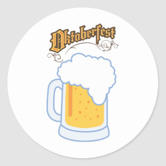 oktoberfest text and beer classic round sticker