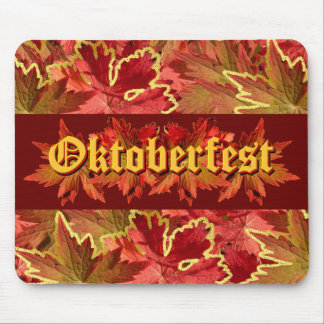 Oktoberfest Text Design With Autumn Leaves Mouse Pad