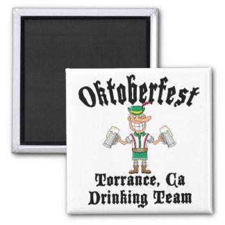Oktoberfest Torrance, California Drinking Team 2 Inch Square Magnet