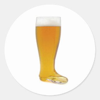 oktoberfest-vidrio-cerveza-bota pegatina redonda