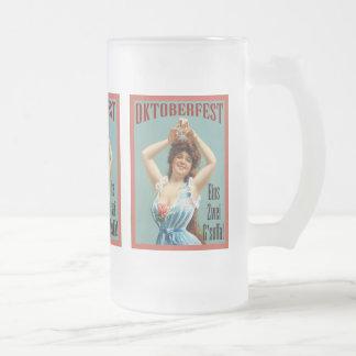 Oktoberfest  ~ Vintage Bavarian Advertising Poster Frosted Glass Beer Mug