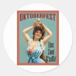 Oktoberfest  ~ Vintage Bavarian Advertising Poster Round Stickers