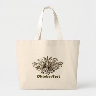 OktoberFest Vintage Beer Keg print Jumbo Tote Bag
