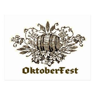 OktoberFest Vintage Beer Keg print Postcard