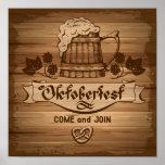 Oktoberfest, vintage poster with wooden