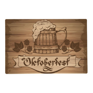 Oktoberfest, vintage poster with wooden placemat