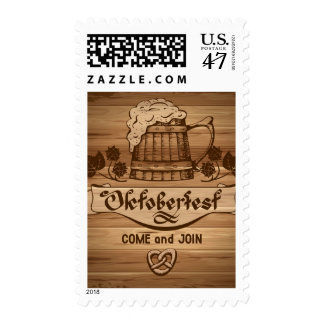 Oktoberfest, vintage poster with wooden postage