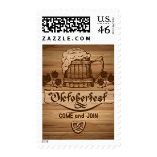 Oktoberfest, vintage poster with wooden postage stamps