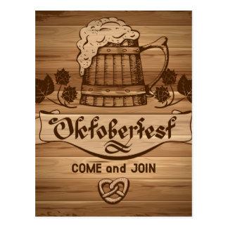 Oktoberfest, vintage poster with wooden postcard