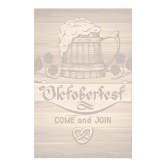 Oktoberfest, vintage poster with wooden stationery