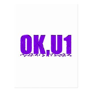 OKU1 en púrpura Tarjetas Postales