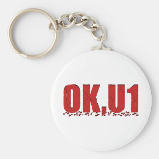 OKU1 en rojo Llavero Redondo Tipo Pin