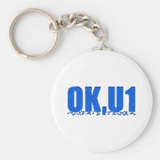 OKU1 in Blue Basic Round Button Keychain