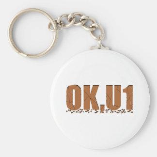 OKU1 in Brown Basic Round Button Keychain