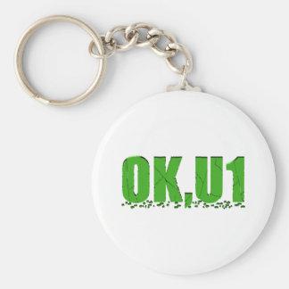 OKU1 in Green Basic Round Button Keychain