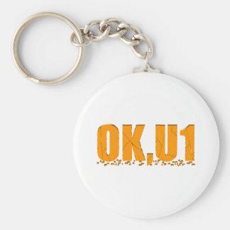 OKU1 in Orange Basic Round Button Keychain