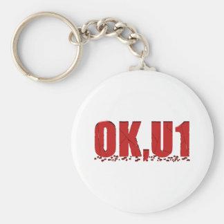 OKU1 in Red Basic Round Button Keychain