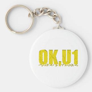 OKU1 in Yellow Basic Round Button Keychain